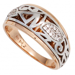 Damen Ring 585 Gold Rotgold Weißgold bicolor 26 Diamanten Brillanten Goldring