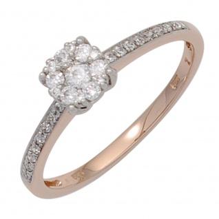 Damen Ring 585 Gold Rotgold Weißgold bicolor 29 Diamanten Brillanten