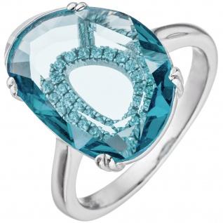 Damen Ring 925 Sterling Silber 19 Zirkonia 1 Kristall türkis Silberring