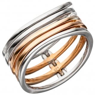 Damen Ring breit mehrreihig 925 Sterling Silber bicolor vergoldet Silberring