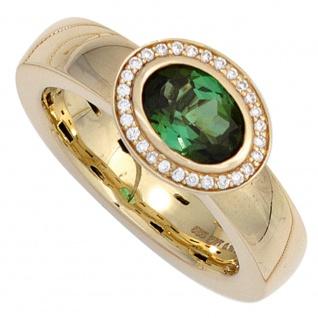 Damen Ring 585 Gold Gelbgold 1 Turmalin grün 28 Diamanten Brillanten Goldring