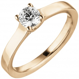 Damen Ring 585 Gold Rotgold 1 Diamant Brillant 0, 50 ct. Diamantring Solitär