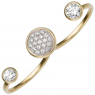 Damen Zweifinger Ring 333 Gold Gelbgold 21 Zirkonia Goldring Zweifingerring
