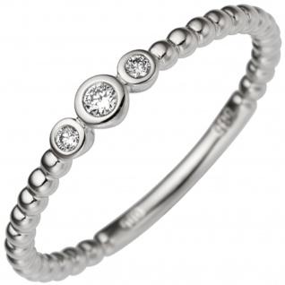Damen Ring 585 Gold Weißgold 3 Diamanten Brillanten 0, 06ct. Weißgoldring - Vorschau