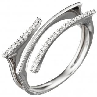 Damen Ring 585 Gold Weißgold 33 Diamanten Brillanten Weißgoldring