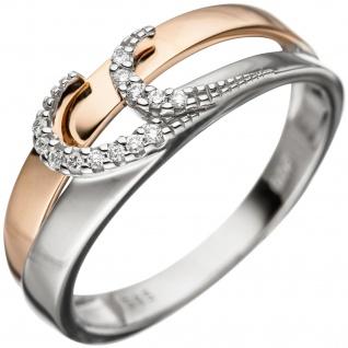 Damen Ring 585 Gold Weißgold Rotgold bicolor 13 Diamanten Brillanten Goldring