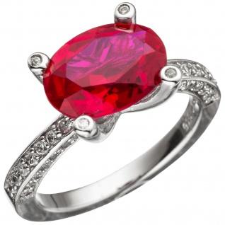 Damen Ring 925 Sterling Silber mit Zirkonia rot und weiß Silberring