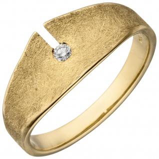 Damen Ring 585 Gold Gelbgold eismatt 1 Diamant Brillant 0, 04ct. Diamantring
