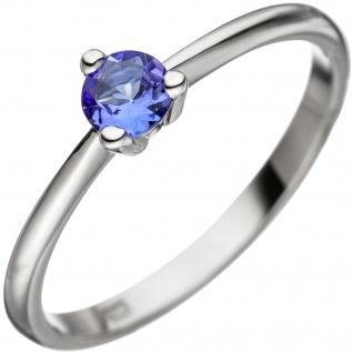 Damen Ring 585 Gold Weißgold 1 Tansanit blau Weißgoldring