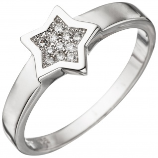 Damen Ring Stern 925 Sterling Silber mit Zirkonia Silberring
