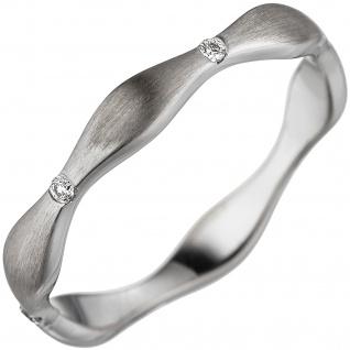 Damen Ring Welle 585 Gold Weißgold matt 6 Diamanten Brillanten Weißgoldring