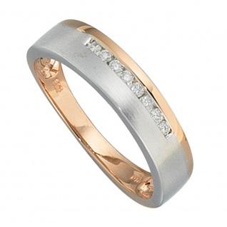 Damen Ring 585 Gold Rotgold Weißgold bicolor teilmatt 8 Diamanten Brillanten