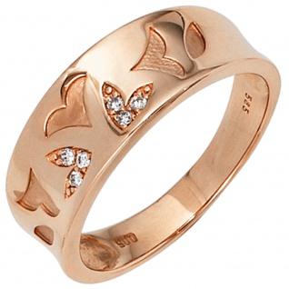 Damen Ring 585 Gold Rotgold 6 Diamanten Brillanten 0, 05ct. Rotgoldring