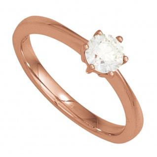 Damen Ring 585 Gold Rotgold 1 Diamant Brillant 0, 10ct. Diamantring Goldring