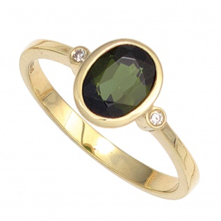 Damen Ring 585 Gold Gelbgold 1 Turmalin grün 2 Diamanten 0, 02ct. Goldring