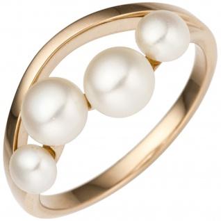 Damen Ring 585 Rotgold Rosegold 4 Süßwasser Perlen Perlenring Rosegoldring