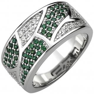 Damen Ring 925 Sterling Silber 85 Zirkonia grün und weiß Silberring