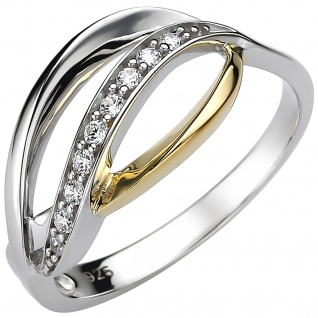 Damen Ring 925 Sterling Silber bicolor vergoldet 9 Zirkonia Silberring - Vorschau