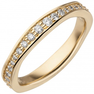 Damen Ring 585 Gold Gelbgold Diamanten Brillanten rundum