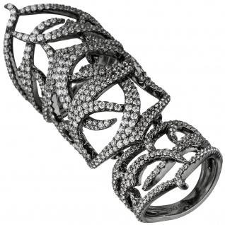Damen Ring 925 Sterling Silber geschwärzt mit Zirkonia Gelenkring Gliederring
