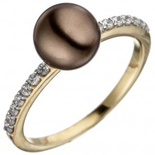 Damen Ring 333 Gold Gelbgold bicolor mit dunkler Perle und Zirkonia Perlenring
