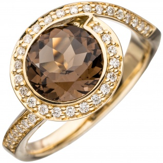 Damen Ring 585 Gold Gelbgold 1 Rauchquarz braun 36 Diamanten Brillanten Goldring