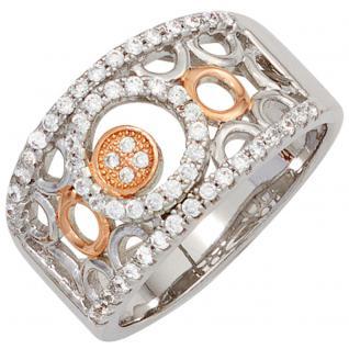 Damen Ring breit 925 Sterling Silber bicolor vergoldet mit Zirkonia Silberring