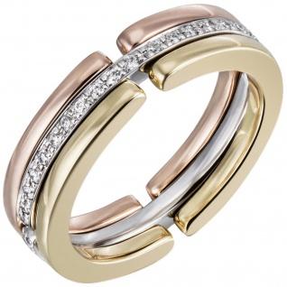 Damen Ring 585 Gold Tricolor mit Diamanten Brillanten rundum