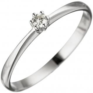 Damen Ring 585 Gold Weißgold 1 Diamant Brillant Weißgoldring Diamantring