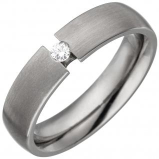 Partner Ring aus Titan 1 Diamant Brillant 0, 05ct. Partnerring Titanring matt - Vorschau