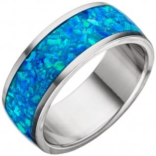 Damen Ring Edelstahl mit Opal-Einlage blau