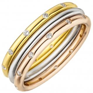 Damen Ring 3-teilig 925 Silber tricolor dreifarbig vergoldet 24 Zirkonia