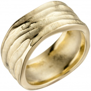 Damen Ring 585 Gold Gelbgold matt mattiert Goldring