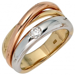 Damen Ring 585 Gold dreifarbig tricolor 1 Diamant Brillant 0, 15ct. Goldring