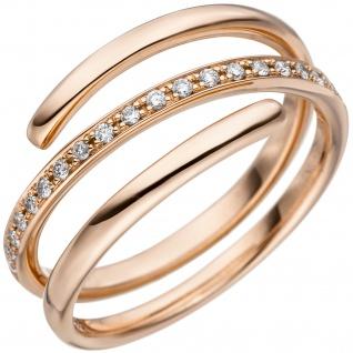 Damen Ring 585 Gold Rotgold 20 Diamanten Brillanten 0, 14ct. Diamantring