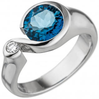 Damen Ring 585 Gold Weißgold 1 Blautopas hellblau blau 1 Diamant Brillant