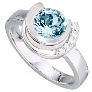 Damen Ring 585 Gold Weißgold 1 Aquamarin hellblau blau 5 Diamanten Brillanten
