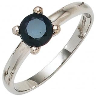 Damen Ring 925 Sterling Silber rhodiniert 1 Safir blau Silberring