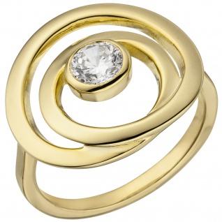 Damen Ring 925 Sterling Silber vergoldet 1 Zirkonia
