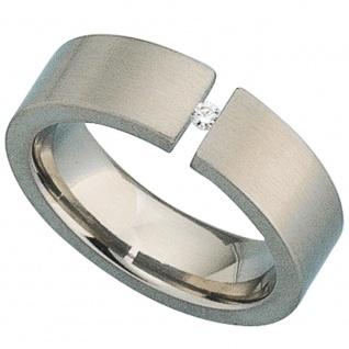 Damen Ring Titan matt 1 Diamant Brillant 0, 03ct.