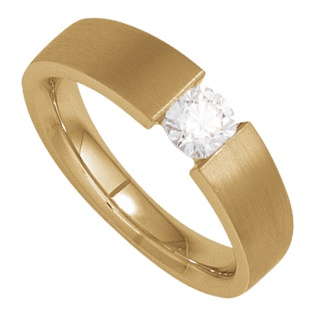 Damen Ring 585 Gold Gelbgold matt 1 Diamant Brillant 0, 70ct. Diamantring