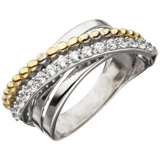 Damen Ring 925 Sterling Silber bicolor vergoldet mit Zirkonia Silberring
