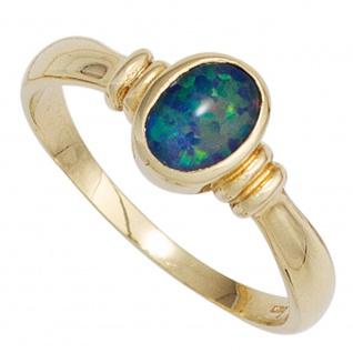 Damen Ring 585 Gold Gelbgold 1 Opal-Triplette Goldring Opalring