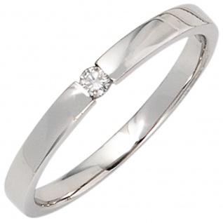 Damen Ring 585 Gold Weißgold 1 Diamant Brillant 0, 05ct. Diamantring Weißgoldring