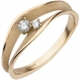 Damen Ring 585 Gold Gelbgold teil matt 2 Diamanten Brillanten