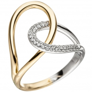 Damen Ring 585 Gold Gelbgold Weißgold bicolor 36 Diamanten Brillanten Goldring