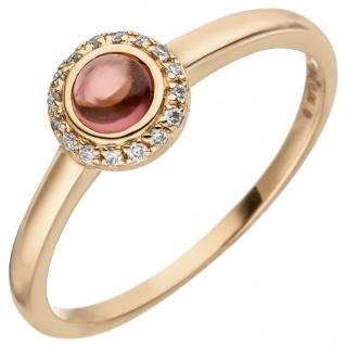Damen Ring 585 Gold Rotgold 1 Turmalin Cabochon 16 Diamanten Brillanten 0, 05ct.