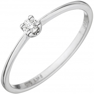 Damen Ring 585 Gold Weißgold 1 Diamant Brillant 0, 07ct. Weißgoldring Diamantring