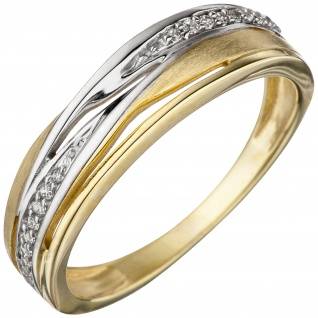 Damen Ring 333 Gold Gelbgold bicolor teil matt mit Zirkonia Goldring