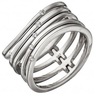 Damen Ring breit mehrreihig 925 Sterling Silber 5 Zirkonia Silberring
